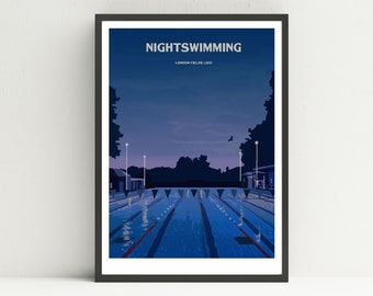 Nightswimming Art Print/Poster, London Fields Lido, London. Travel Poster // Railway Poster // Wall Art // Home Decor