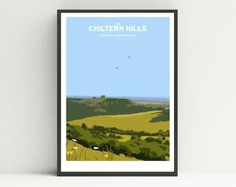 Chiltern Hills print, Chiltern Hills, Hiking print UK