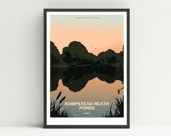 Hampstead Heath Ponds print, Hampstead print, unframed Hampstead Ponds poster.