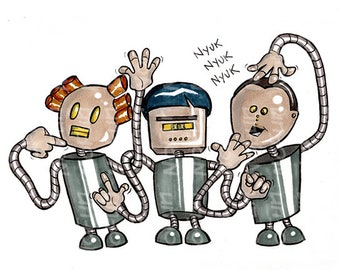 March of Robots - Three Stooges Bots Weirdo Robot Art Print by Reb NoFun