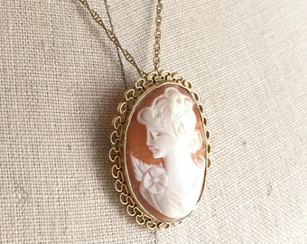 Carved Shell Cameo Brooch/ Pendant Gold Filled, Vintage Cameo Pin, Gold Filled Cameo, Peach Cameo Brooch, Gold Cameo Brooch, 12k Gold Filled
