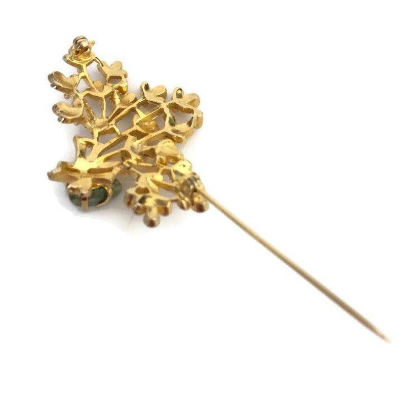 Natural Gemstone Gold Tone Flower Bouquet Pin Green Gemstone Vintage Floral Leaf Brooch with Zoisite Stone