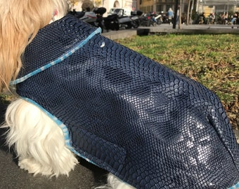 Leatherette way croco embossed RAINCOAT with warm cozy lining dog coat / dog winter accessories / Cook