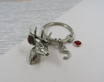 Moose Head Bust I Heart Love Keychain Key Ring