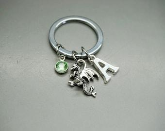 Keychain silver Dragon Rider grey