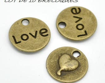 Set of 10 heart circle charm love bronze (A26)