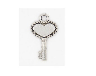 Set of 10 charms small key heart key Silver (D15)