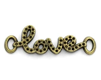 SET of 3 charms connector love bronze (R01)