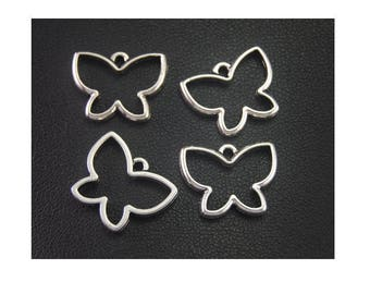 SET of 3 Butterfly charm pendant connector (B96) nature