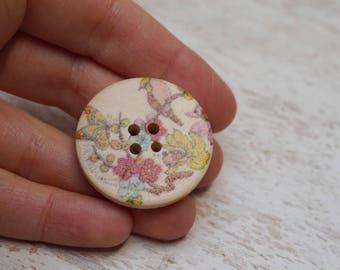 """Set of 12 wholesale button round flat fancy Fleur bird """"4trous"""" (H37)"""