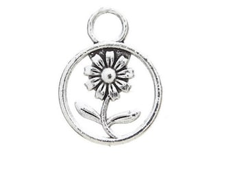 SET of 3 flower Daisy Daisy in Silver Circle (D55) charms