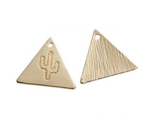 triangle gold plated cactus pendant Pink (B99)