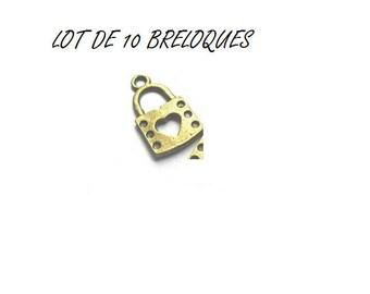 set of 10 (T42) Bronze heart key lock charms