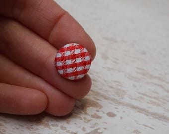 """Set of 20 buttons acrylic and fabric gingham """"1trou"""" (H71)"""