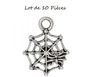 Set of 10 charms (D23) silver Halloween Spider Web