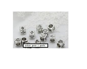 bead spacer of cube poker sting heart tile (P22) pandora style silver clover
