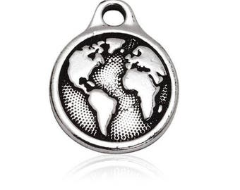 charm medal earth globe world Silver (B12)