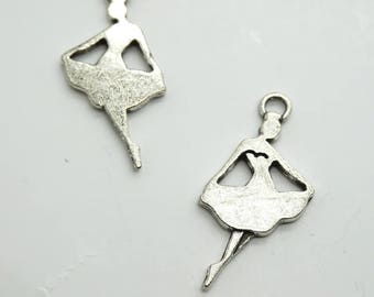 Set of 3 charms (C21) silver dancer dance