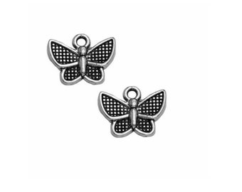 set of 10 charms Butterfly color Silver (B60)