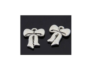 SET of 10 charms pendant bow silver tone (C06)