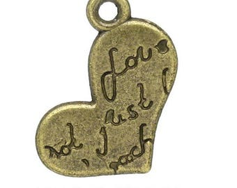 Set of 10 charms engraved heart love bronze (R47)