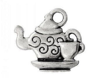 set of 3 charms silver teapot (D03) Tea Cup