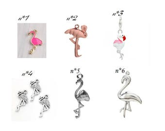 charm theme Flamingo bird pendant bird gold silver - charms - flamingo pink flamingo - flamingo /flemish individually for