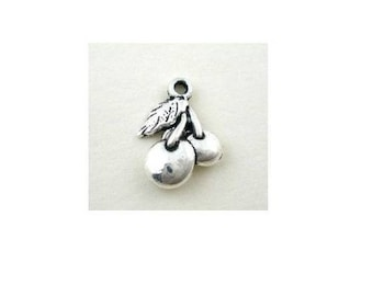 set of 5 cherry cherry fruit (C40) silver color charm pendant