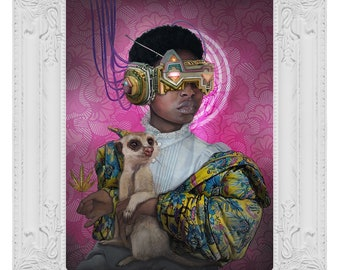 Lady with a Meerkat - limited edition fine art signed and numbered pop surrealism Fine Art Print by kEda Gomes