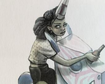 Original Art | kiddies ride | horse ride | Pop Culture | afro punk | Unicorn Zebra