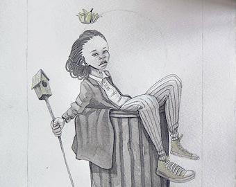 Queen | Original Art | Watercolor | Decor | Wall Art | Drawing | Artwork | Pop Culture | Signed | Street Art | Graffiti | Graffiti Art