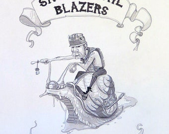 Biker Art | Snail Painting | Motorcycle Watercolor | Snail Decor | Motorcycle Wall Art | Snail Drawing | Pop Culture | Motorbike Decor
