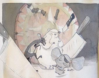 Nursery Rhyme Art | Circus Painting | Nursery Rhyme Decor | Circus Wall Art | Fun Artwork | Three Blind Mice | Nursery Rhyme Illustration