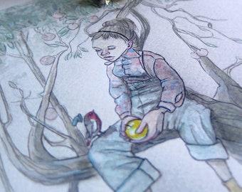 Vintage Art | Vintage Watercolor | Vintage Decor | Vintage Wall Art | Vintage Artwork | Vintage Illustration | Tree Climbing | Golden Apple