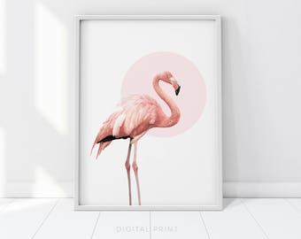 Pink Flamingo, Flamingo Print, Pink Print, Flamingo poster