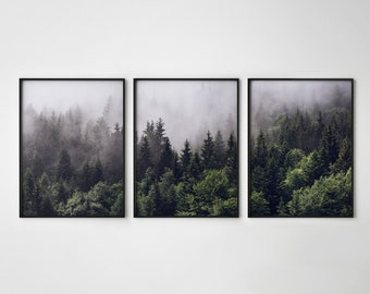 Posters Prints Home Wall Art For Bedroom Indigo Misty Forests Modern 3 Pieces Canvas Wall Art Mountain Forest In Fog Navy Blue Wall Decorations Minimalist Canvas Art Evergreen Coniferous Trees Gallery