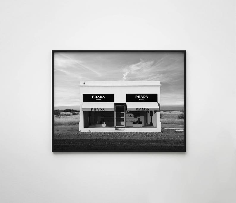 4f7142060ae43 Prada Marfa Print, Prada print, Fashion print, Fashion poster, Prada  poster, Fashion wall art, Prada Decor, Fashion decor, Prada wall art
