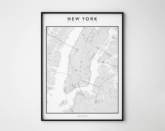 new york map new york poster manhattan black and white map travel