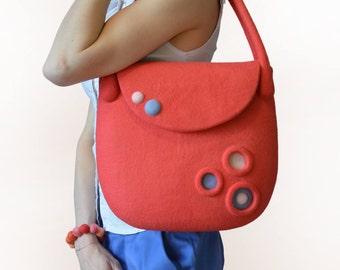 Coral Bag, Coral handbag, Coral felt bag, Felt Bag ready to ship, Summer Bag, Coral Bag ready to ship, Felted Coral Bag, Coral Shoulder Bag
