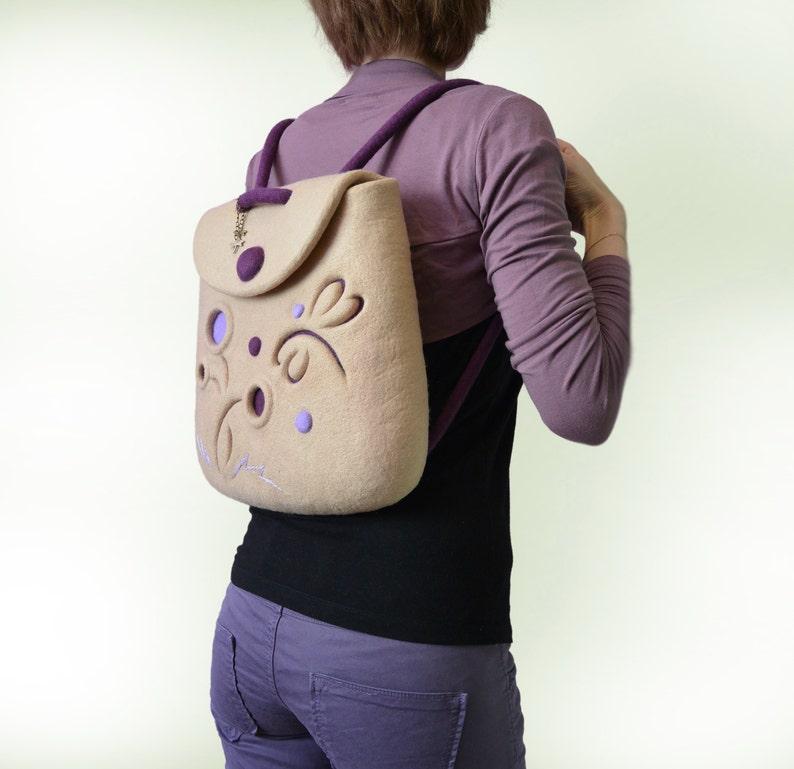 Felt Backpack Backpack Dragonfly Small Felt Backpack Wool Dragonfly Beige Small Backpack Beige Felt Backpack Dragonfly Felt Dragonfly