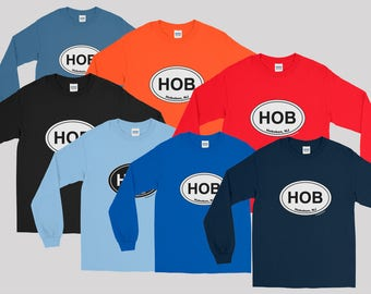 Ready to hit the surf in HOB Oval   UNISEX Long Sleeve Shirt