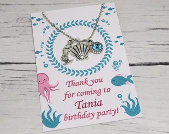 Sea//Ariel//Beach Mermaid Charm Necklace Birthday Party Bag//Gift Filler