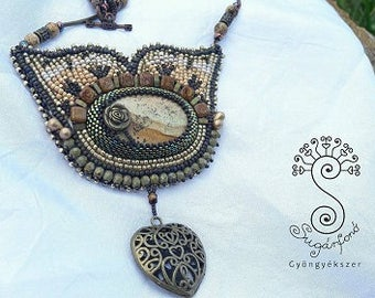 Picture Jasper Beadwork Necklace, bead embroidered necklace, art beadwork, women's unique jewellery, special gift for her