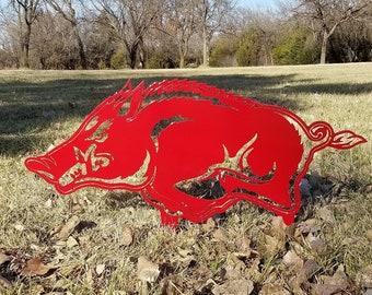 "Yard Stake - 36"" - University of Arkansas - Razorbacks - Garden Decor - Outdoor Decor - Sign - NCAA - Lawn Decoration - Christmas- Solid"