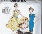 Butterick 6582 Pattern, Semi-Fitted Dress, 1960 Reissue, One Piece Dress, Fit and Flare Dress, Gathered Shoulders, Attached Bow Sz 18 20 22