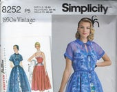 Simplicity 8252 Pattern, Fit and Flare Dress, 1950s Reissue, Peter Pan Collar, Kimono Sleeves, Sz 4 6 8 10 12 or 12 14 16 18 20,