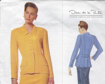 Vintage Vogue Sewing Pattern American Designer 1638 Oscar de la Renta Jacket Skirt Size 14 16 18 Uncut Factory Folded 1990s