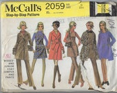 McCall 39 s 2059 Pattern, Mini Dress, Jumper Tunic, Wrap Trench Coat, Zipper Pants, Square Neck Jumper, Lined Wrap Coat Sz 11