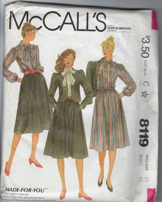 80s McCall s Women Sewing Pattern Misses Blouse Top Jacket  8f9073288