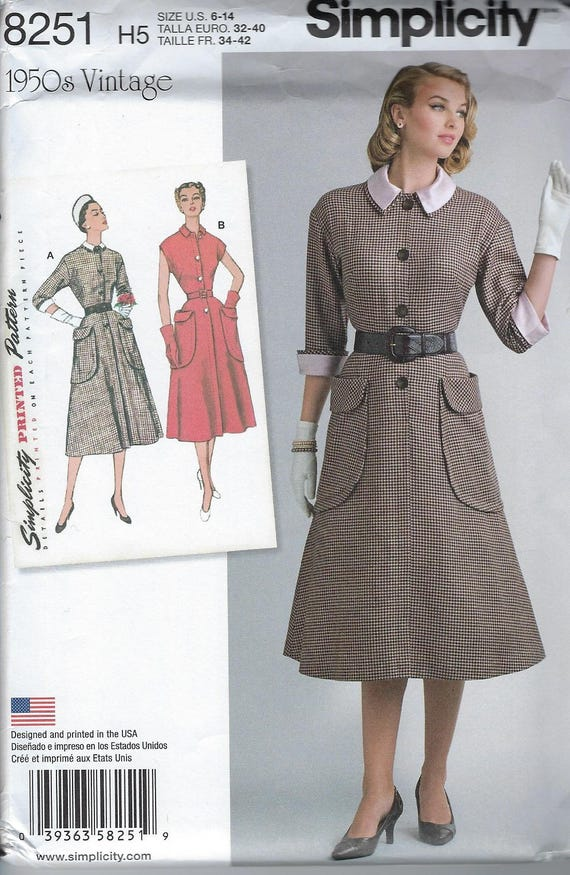 Simplicity Pattern, A line Dress, One Piece, 1950s Reissue, Pocket Dress, Fit and Flare 8251, Loose Fitting Sz 6 8 10 12 14